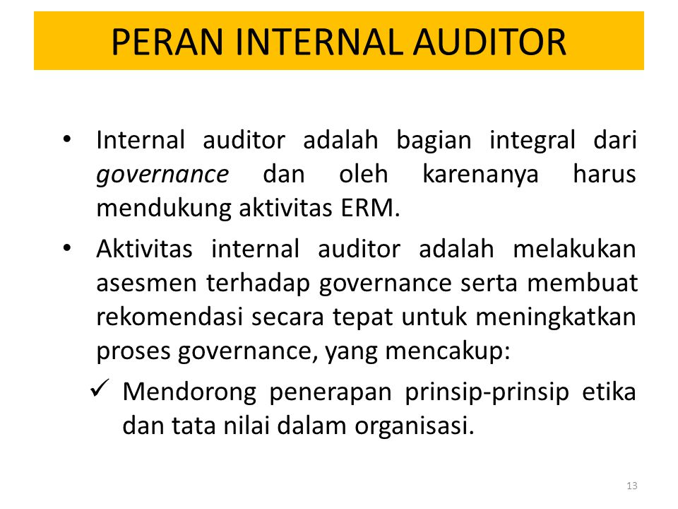 PERAN INTERNAL AUDITOR