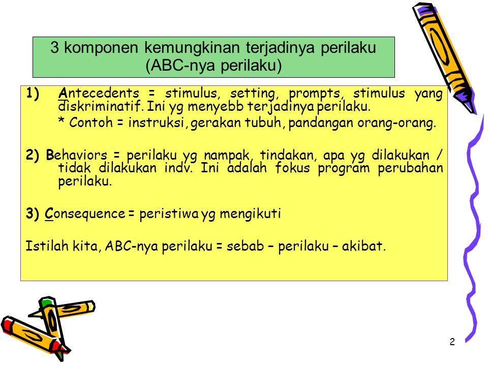 3 komponen kemungkinan terjadinya perilaku (ABC-nya perilaku)