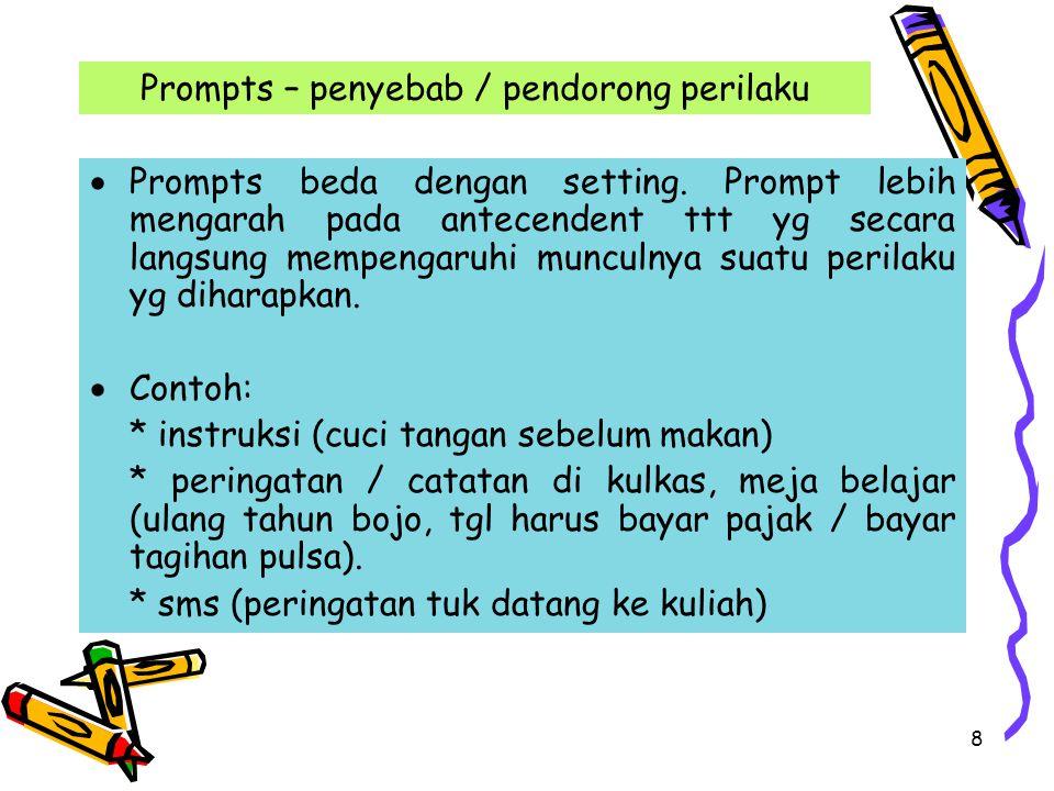 Prompts – penyebab / pendorong perilaku