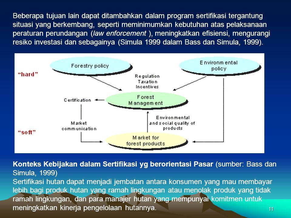Beberapa tujuan lain dapat ditambahkan dalam program sertifikasi tergantung situasi yang berkembang, seperti meminimumkan kebutuhan atas pelaksanaan peraturan perundangan (law enforcement ), meningkatkan efisiensi, mengurangi resiko investasi dan sebagainya (Simula 1999 dalam Bass dan Simula, 1999).