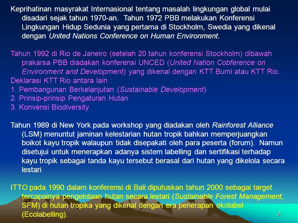 Keprihatinan masyrakat Internasional tentang masalah lingkungan global mulai disadari sejak tahun 1970-an. Tahun 1972 PBB melakukan Konferensi Lingkungan Hidup Sedunia yang pertama di Stockholm, Swedia yang dikenal dengan United Nations Conference on Human Environment.