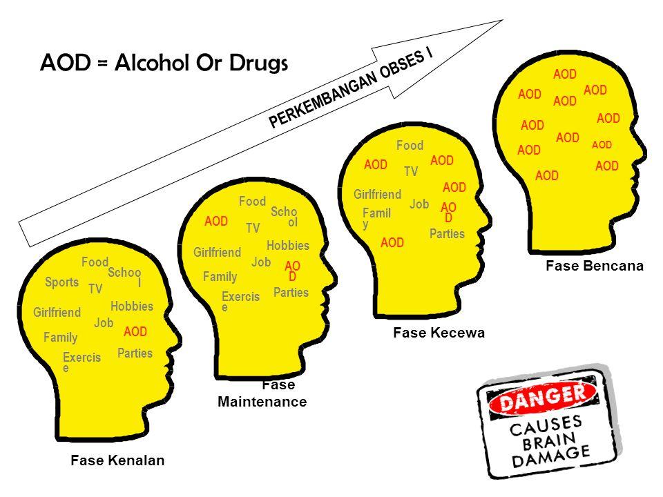 AOD = Alcohol Or Drugs PERKEMBANGAN OBSES I Fase Bencana Fase Kecewa