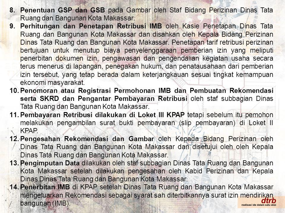 Penentuan GSP dan GSB pada Gambar oleh Staf Bidang Perizinan Dinas Tata Ruang dan Bangunan Kota Makassar.