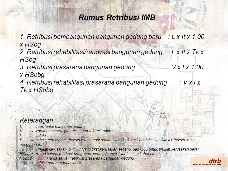 Rumus Retribusi IMB 1. Retribusi pembangunan bangunan gedung baru : L x It x 1,00 x HSbg.