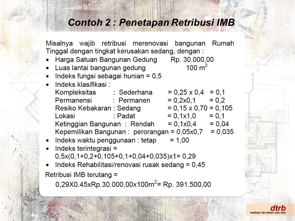 Contoh 2 : Penetapan Retribusi IMB