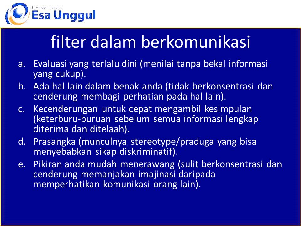 filter dalam berkomunikasi