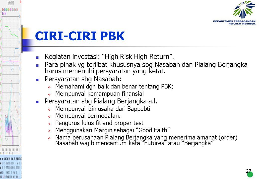 CIRI-CIRI PBK Kegiatan investasi: High Risk High Return .