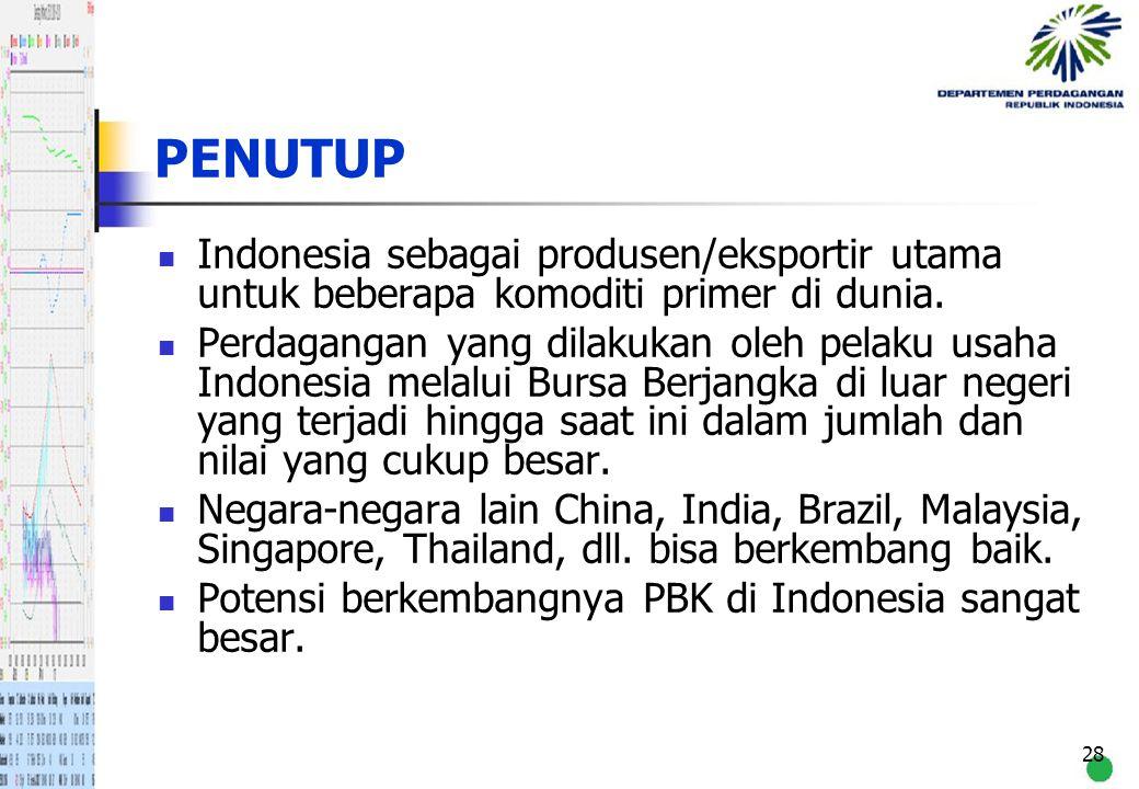 PENUTUP Indonesia sebagai produsen/eksportir utama untuk beberapa komoditi primer di dunia.