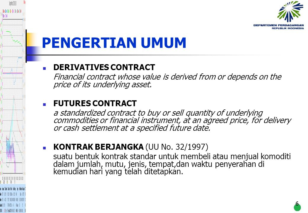 PENGERTIAN UMUM DERIVATIVES CONTRACT