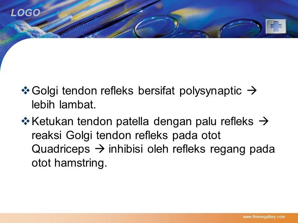 Golgi tendon refleks bersifat polysynaptic  lebih lambat.