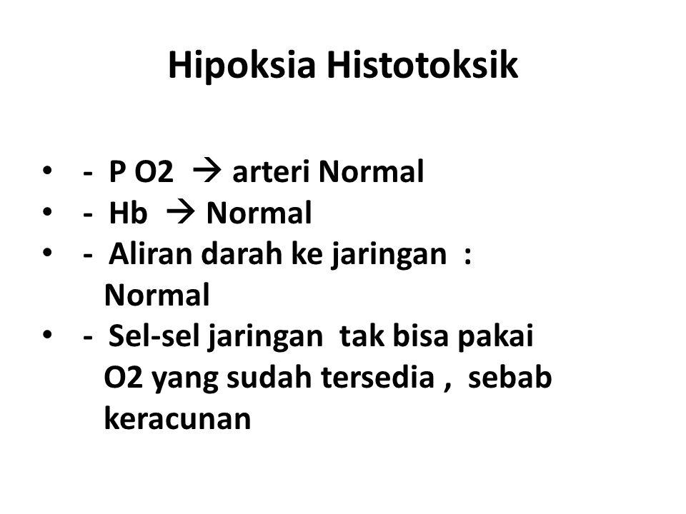 Hipoksia Histotoksik - P O2  arteri Normal - Hb  Normal