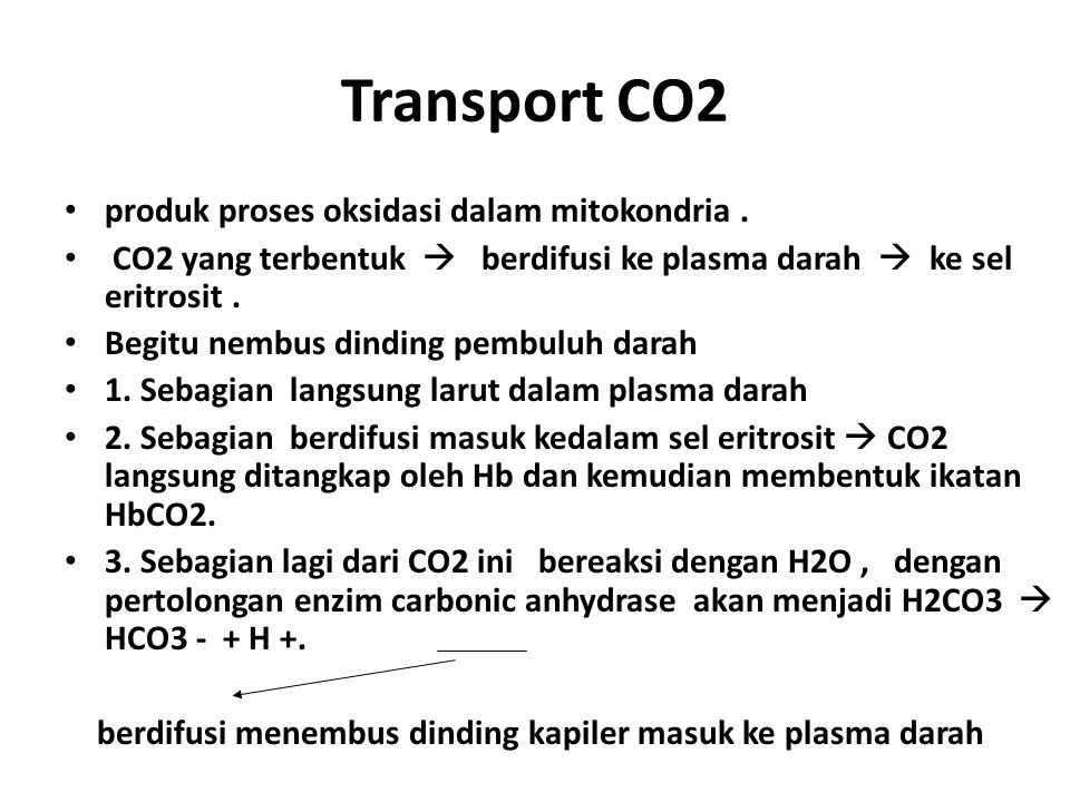 Transport CO2 produk proses oksidasi dalam mitokondria .