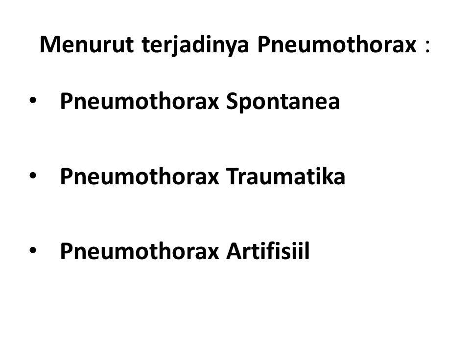 Menurut terjadinya Pneumothorax :