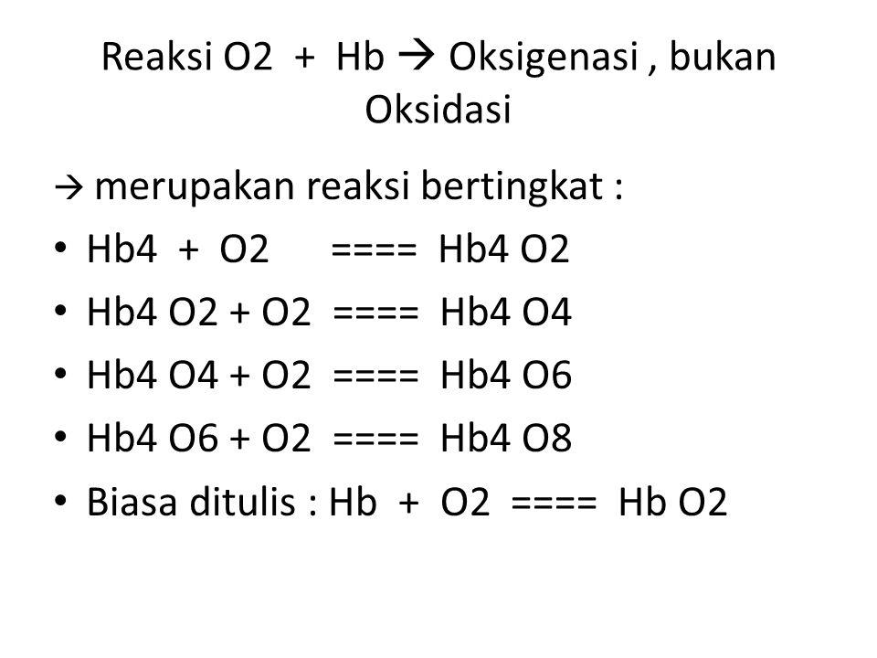 Reaksi O2 + Hb  Oksigenasi , bukan Oksidasi