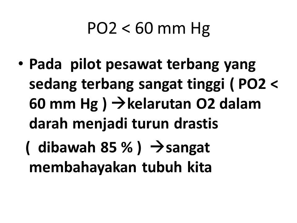 PO2 < 60 mm Hg Pada pilot pesawat terbang yang sedang terbang sangat tinggi ( PO2 < 60 mm Hg ) kelarutan O2 dalam darah menjadi turun drastis.