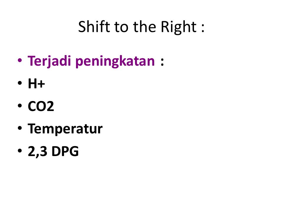 Shift to the Right : Terjadi peningkatan : H+ CO2 Temperatur 2,3 DPG