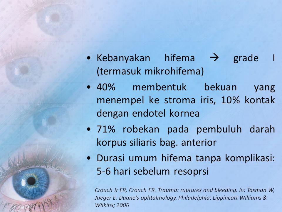 Kebanyakan hifema  grade I (termasuk mikrohifema)