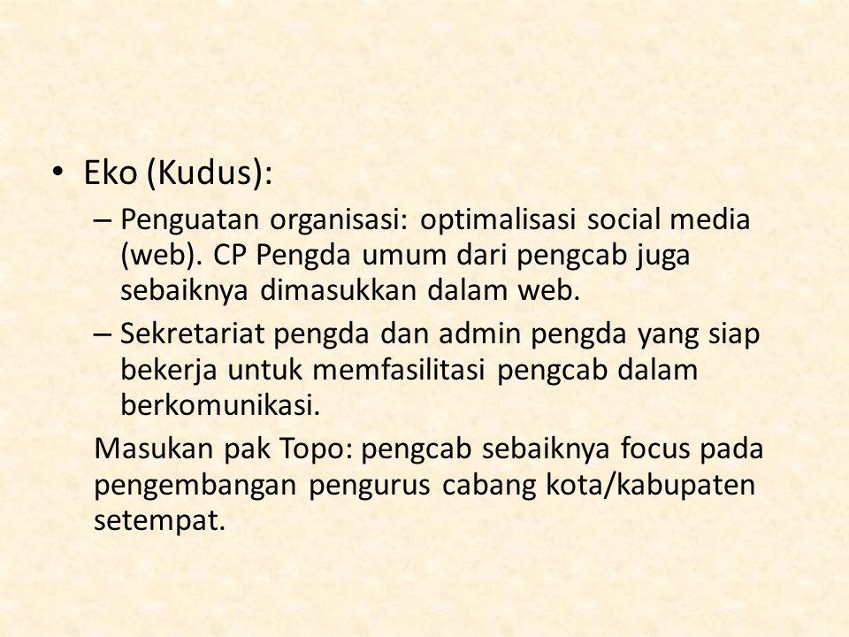 Eko (Kudus): Penguatan organisasi: optimalisasi social media (web). CP Pengda umum dari pengcab juga sebaiknya dimasukkan dalam web.