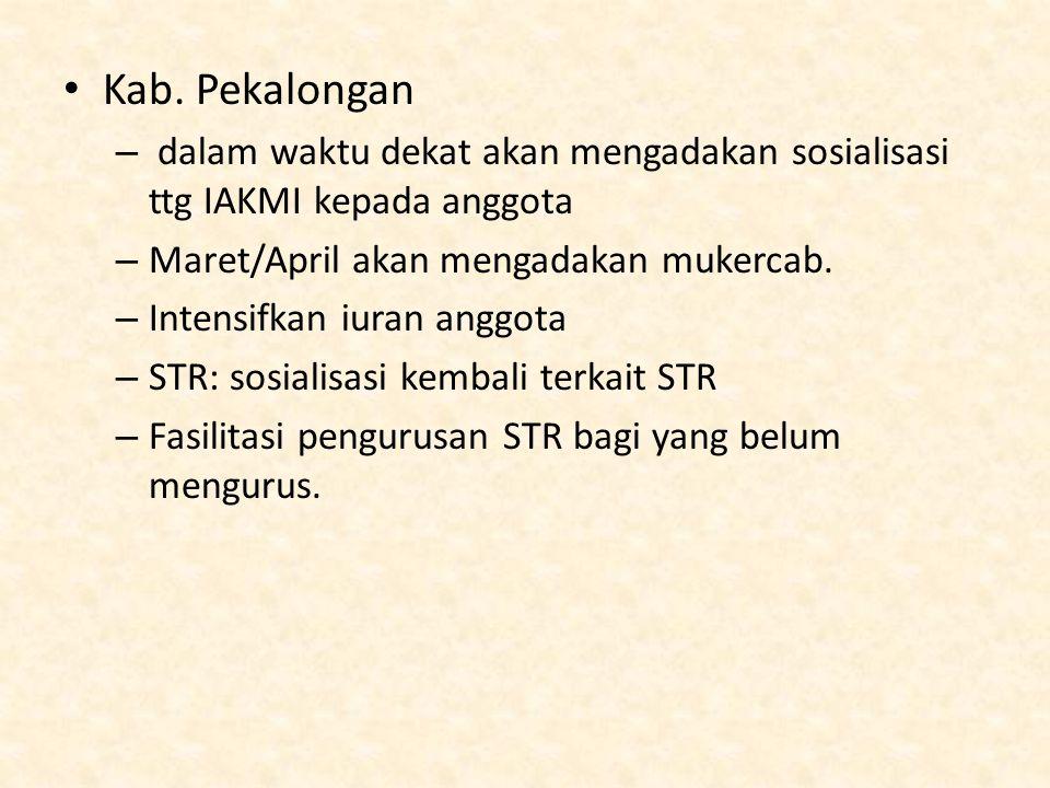 Kab. Pekalongan dalam waktu dekat akan mengadakan sosialisasi ttg IAKMI kepada anggota. Maret/April akan mengadakan mukercab.