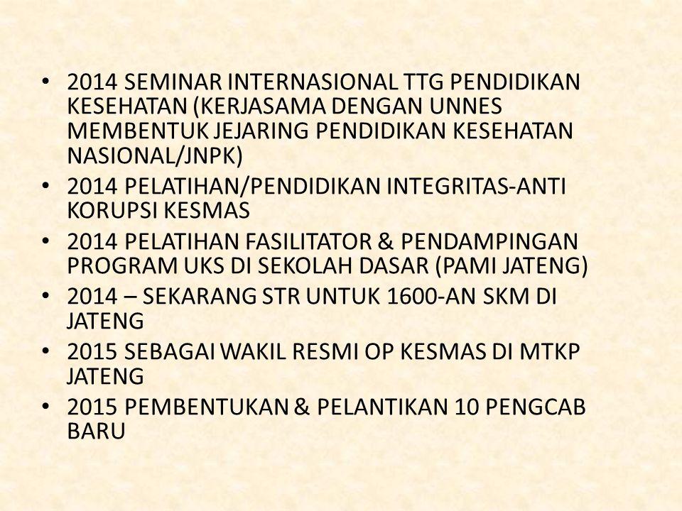 2014 SEMINAR INTERNASIONAL TTG PENDIDIKAN KESEHATAN (KERJASAMA DENGAN UNNES MEMBENTUK JEJARING PENDIDIKAN KESEHATAN NASIONAL/JNPK)