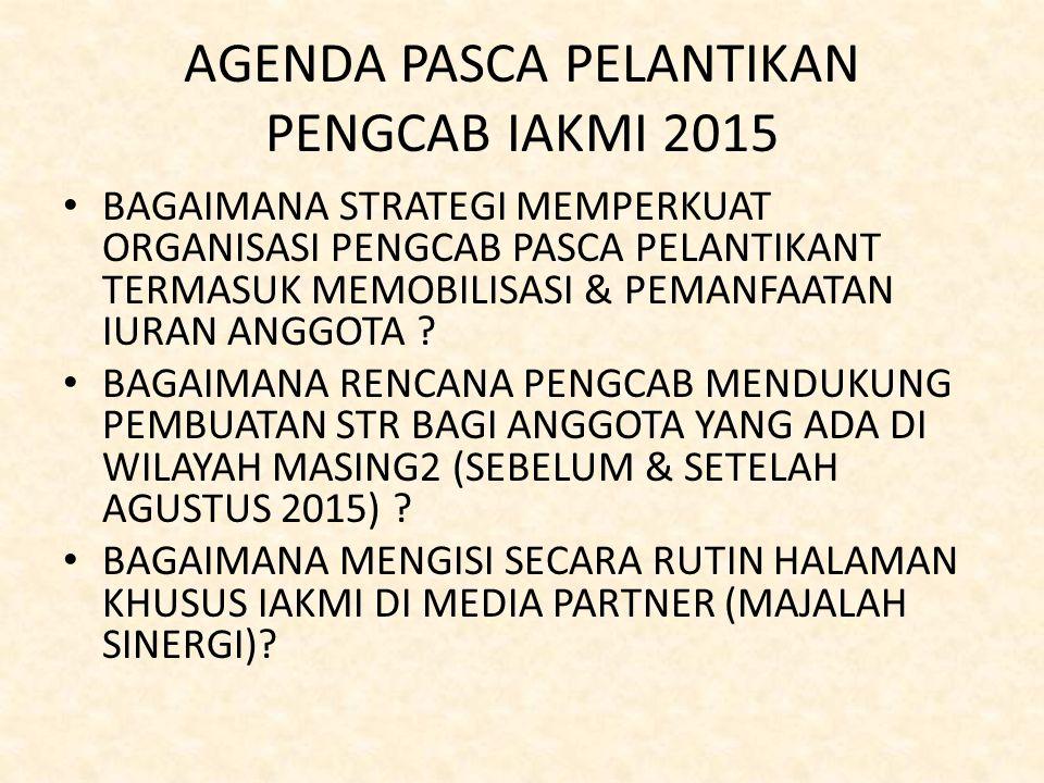 AGENDA PASCA PELANTIKAN PENGCAB IAKMI 2015