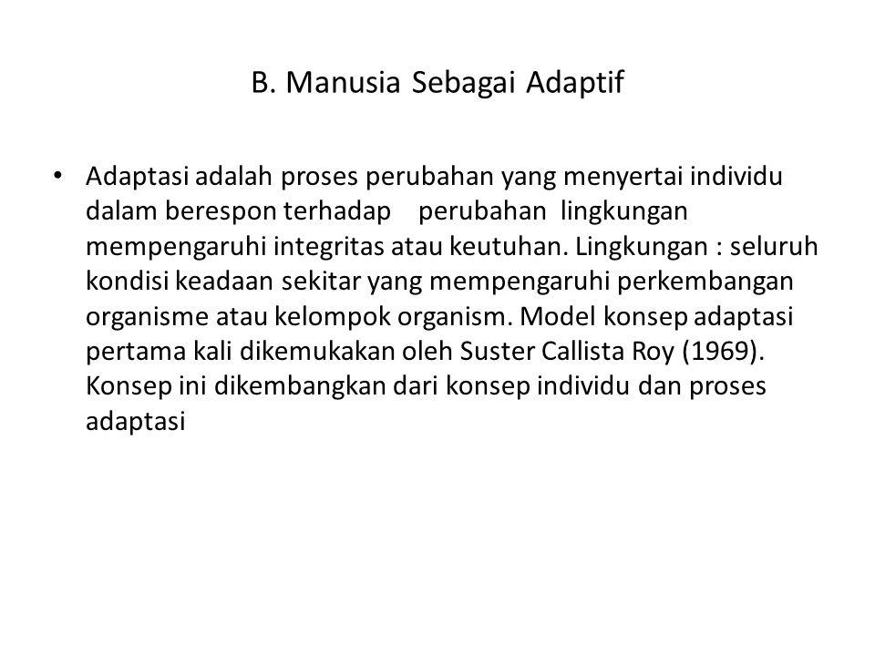 B. Manusia Sebagai Adaptif