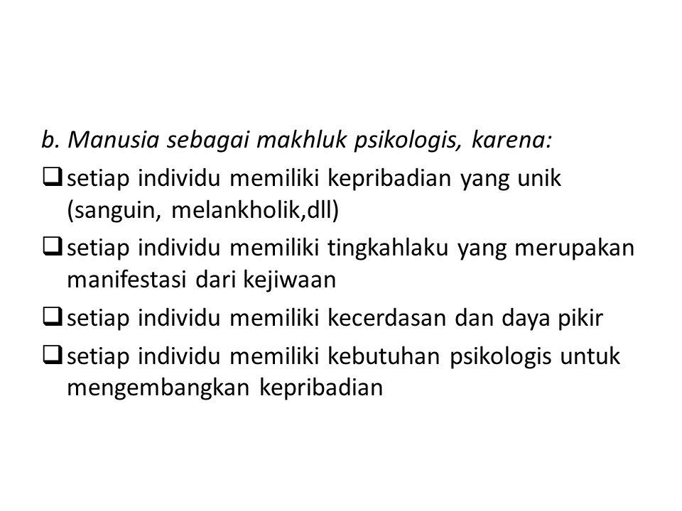 b. Manusia sebagai makhluk psikologis, karena: