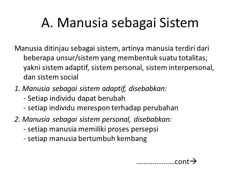 A. Manusia sebagai Sistem