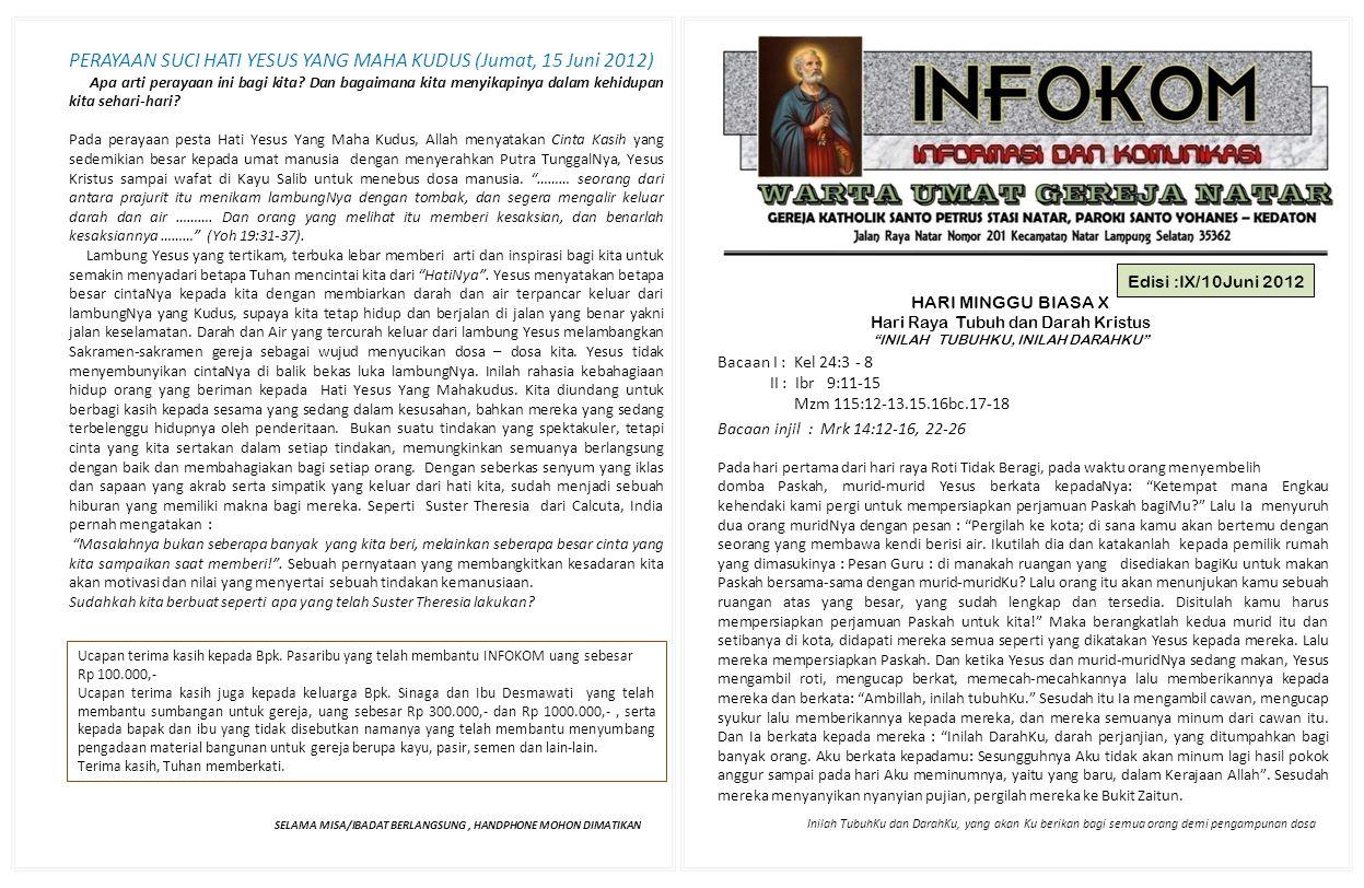 PERAYAAN SUCI HATI YESUS YANG MAHA KUDUS (Jumat, 15 Juni 2012)