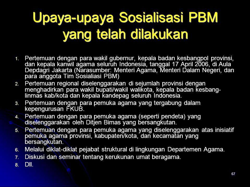 Upaya-upaya Sosialisasi PBM yang telah dilakukan