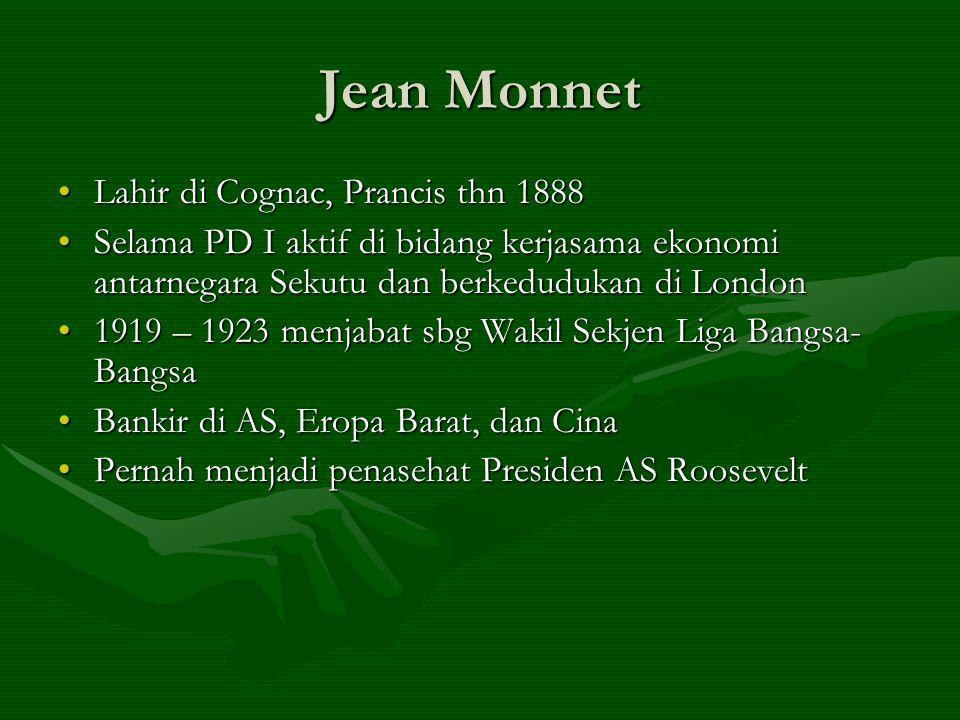 Jean Monnet Lahir di Cognac, Prancis thn 1888