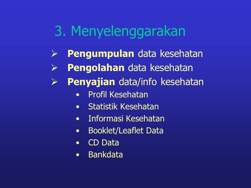3. Menyelenggarakan Pengumpulan data kesehatan