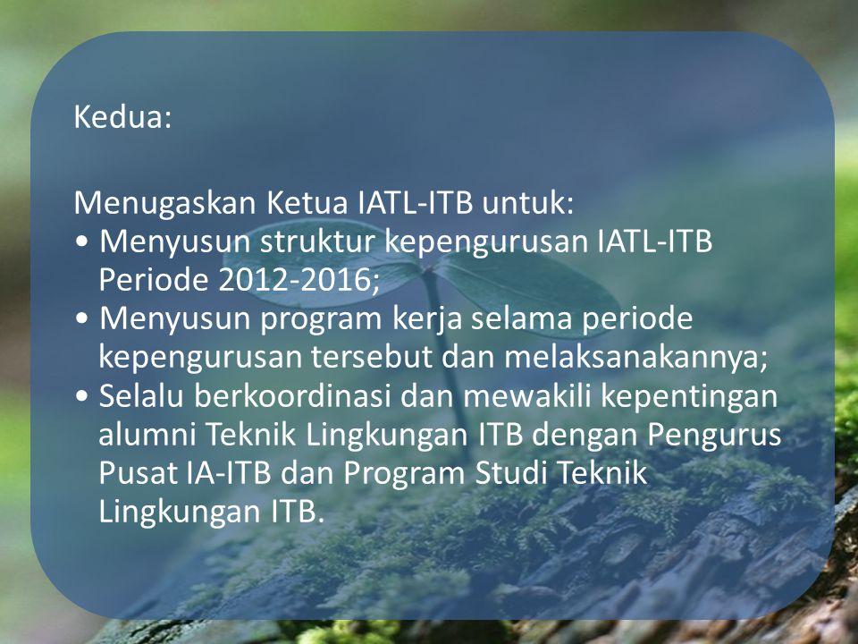 Kedua: Menugaskan Ketua IATL-ITB untuk: • Menyusun struktur kepengurusan IATL-ITB Periode 2012-2016; • Menyusun program kerja selama periode kepengurusan tersebut dan melaksanakannya; • Selalu berkoordinasi dan mewakili kepentingan alumni Teknik Lingkungan ITB dengan Pengurus Pusat IA-ITB dan Program Studi Teknik Lingkungan ITB.