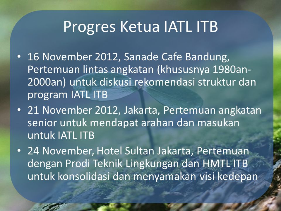 Progres Ketua IATL ITB