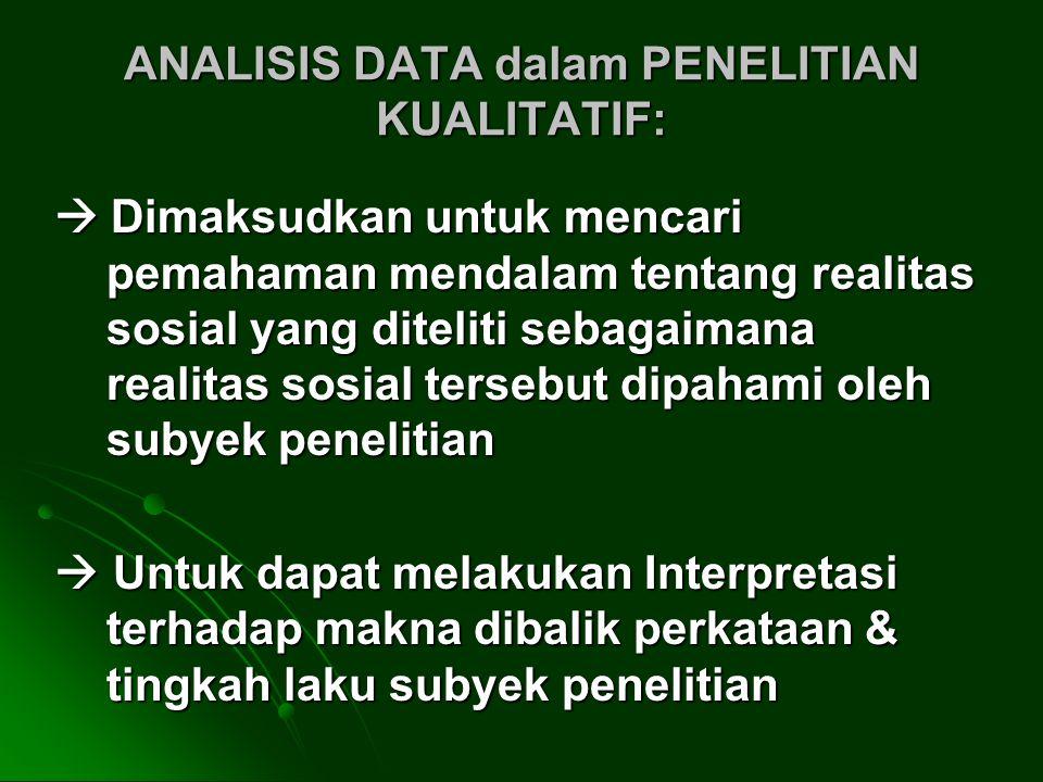 ANALISIS DATA dalam PENELITIAN KUALITATIF: