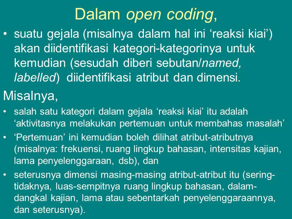 Dalam open coding, Misalnya,