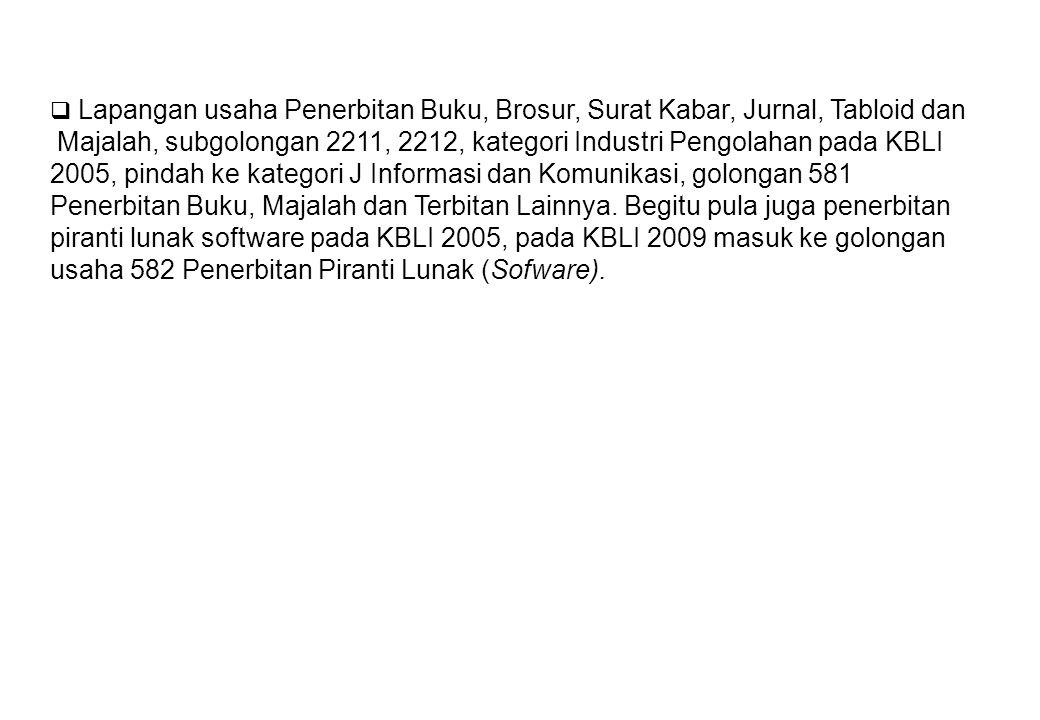 2005, pindah ke kategori J Informasi dan Komunikasi, golongan 581