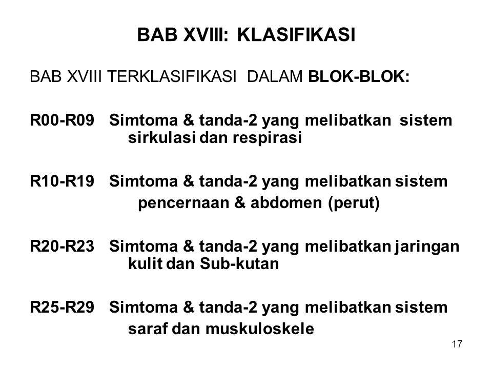 BAB XVIII: KLASIFIKASI
