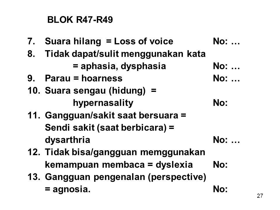 BLOK R47-R49 7. Suara hilang = Loss of voice No: … 8. Tidak dapat/sulit menggunakan kata. = aphasia, dysphasia No: …
