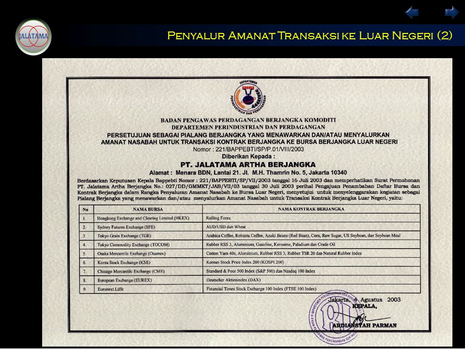 Penyalur Amanat Transaksi ke Luar Negeri (2)