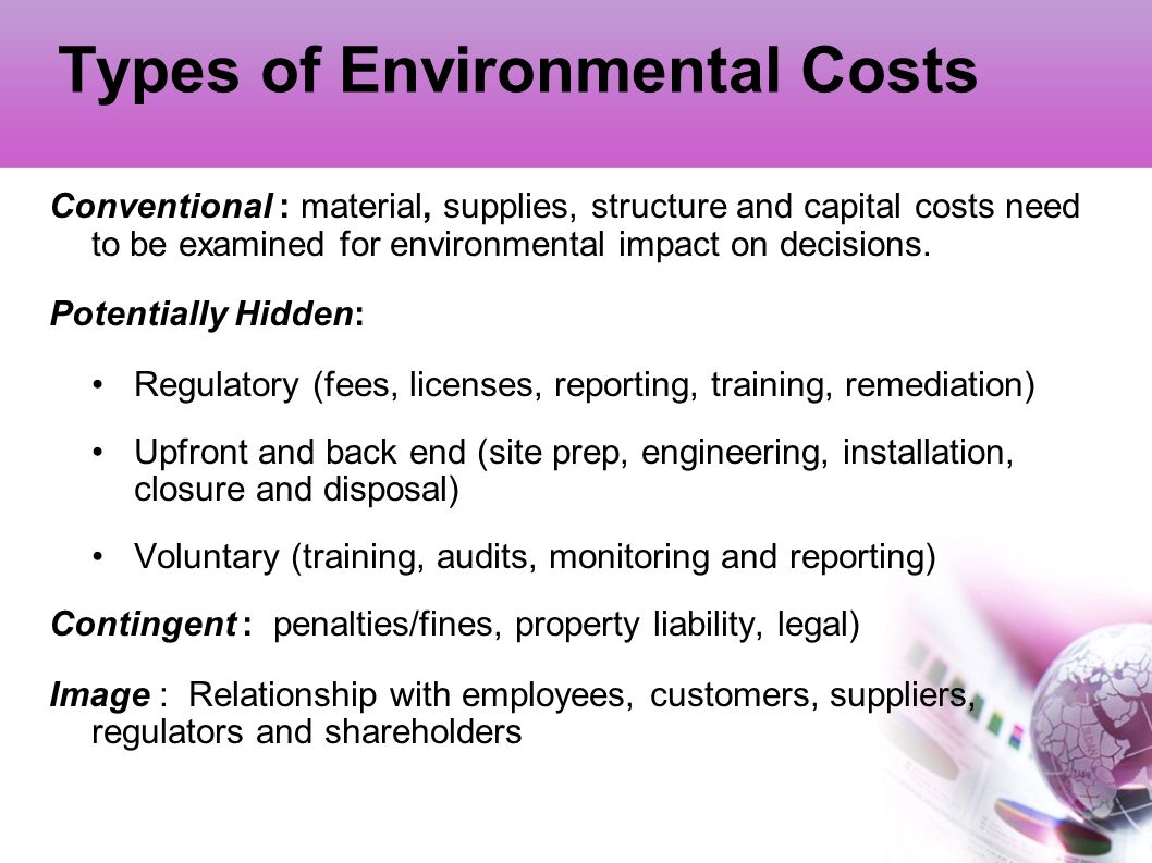 Types of Environmental Costs