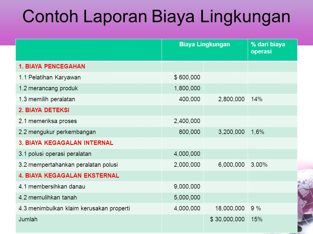 Contoh Laporan Biaya Lingkungan