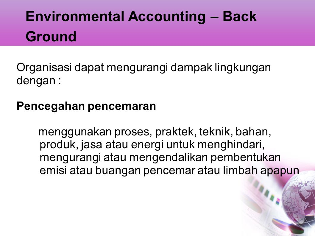 Environmental Accounting – Back Ground