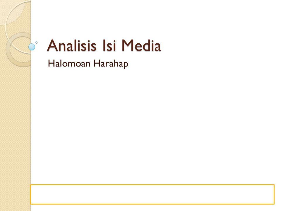 Analisis Isi Media Halomoan Harahap