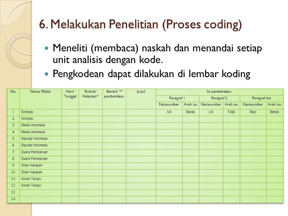 6. Melakukan Penelitian (Proses coding)