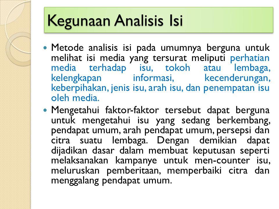 Kegunaan Analisis Isi