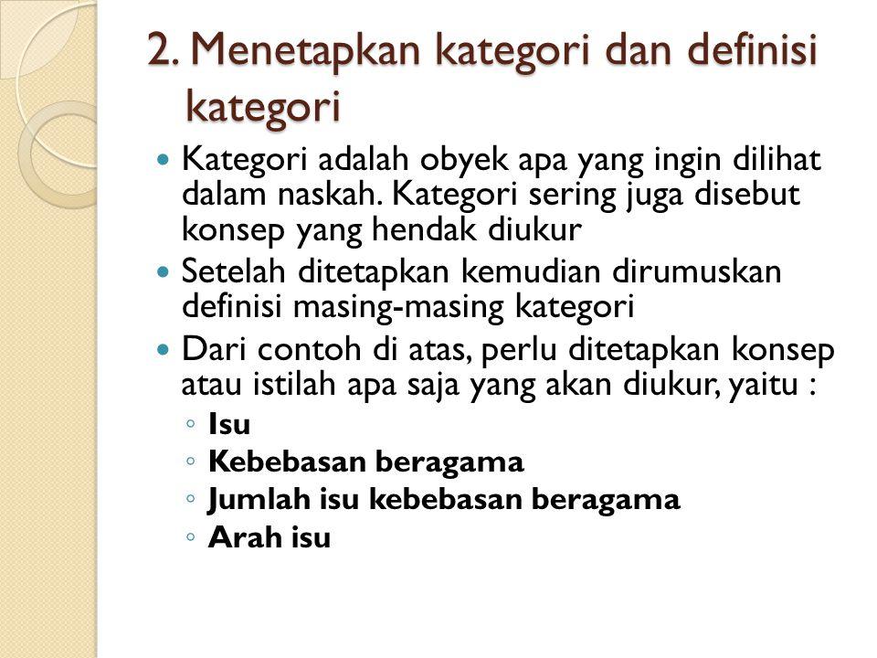 2. Menetapkan kategori dan definisi kategori