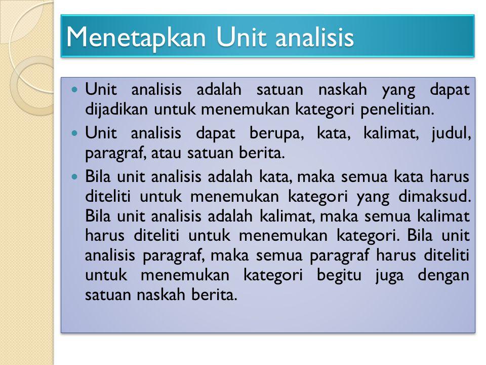 Menetapkan Unit analisis