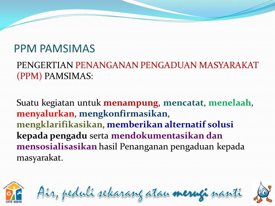 PPM PAMSIMAS PENGERTIAN PENANGANAN PENGADUAN MASYARAKAT (PPM) PAMSIMAS:
