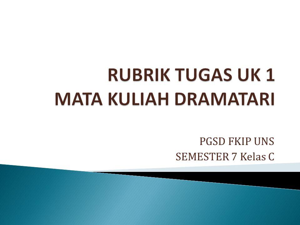 RUBRIK TUGAS UK 1 MATA KULIAH DRAMATARI